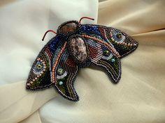 Night Moth.Handmade bead embroidered brooch SOLD , #Handmade, #Beading, #Embroidering, #Brown, #Jewelry, #Jewellery, #Gift, #Brooch Handmade Accessories, Margarita, Moth, Jewelery, Beading, Brooch, Embroidery, Night, Rings