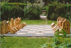 outdoor chess, Scottish, medieval, sculpture, garden game, hand-made, woodturning,