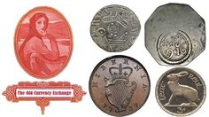 The Old Currency Exchange banner, showing 4 different types of Irish coins and the link to our Irish Coin Catalogue and Image Gallery