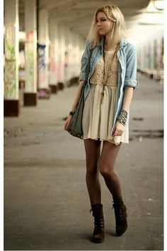 Mini dress and long shirt, tights and boots