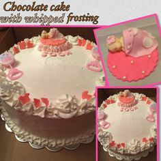 Chocolate cake with whipped frosting. Filling:strawberries & whipped frosting.  BabyShowerCake