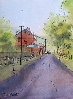 Sofala, NSW. Finished pen ink and wash painting painting by Joe Cartwright.