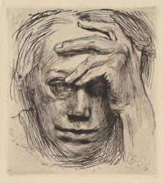 Käthe Kollwitz ~ Self-Portrait, 1921 (etching)