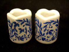 W germany funny design miniature set porcelain candleholders blue willow german