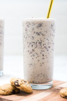 An incredibly easy, super delicious recipe for a healthy cookie dough milkshake that's buttery, with wafts of vanilla and chunks of chocolate in every sip!