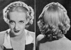 Vintage Hairstyles For Prom - hair braids - Bette Davis - Hairstyles Detachable Braids. Vintage advice from Perc and Ern Westmore - Max Factor Studio Makeup Experts Box Braids Hairstyles, 1940s Hairstyles, Winter Hairstyles, Girl Hairstyles, Hairstyle Ideas, Simple Hairstyles, Hairstyles 2018, Updo Hairstyle, Hair Ideas