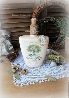 """Купить Бутыль """"Оливковое дерево"""" - бежевый, бутылка декупаж, бутылка декоративная, бутылка для масла"""