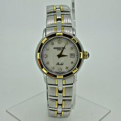 American Antiques and Jewelry - Raymond Weil Parsifal Geneve 9440 Mother of Pearl Dial Stainless Steel and 18k Ladies Quartz Watch, $395.00 (http://www.aaandj.com/raymond-weil-parsifal-geneve-9440-mother-of-pearl-dial-stainless-steel-and-18k-ladies-quartz-watch/)