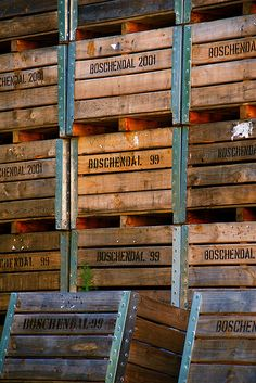 Crates for wine making, Boschendal, South Africa.