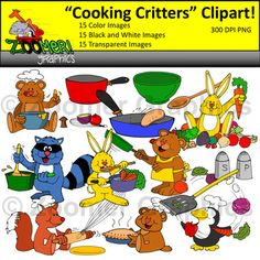 This cooking and baking critters clipart set includes 15 different images that come in 3 formats for a total of 45 images. Each image is 300dpi and PNG and comes in color, black and white and transparent. These adorable cooking and baking animals along with extra utensils are sure to excite your students! #ZoomerGraphics