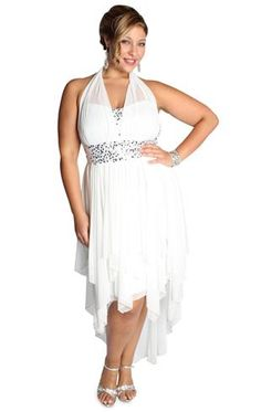 Popular plus size homeing dress with sequins and high low tendril skirt
