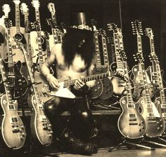 Slash With His Guitar Collection