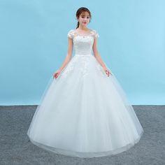 2017 new new arrival one word shoulder wedding Slim short-sleeved large size bride wedding dress Qi Peng Peng skirt spring and summer