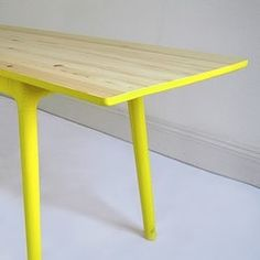 Brightly painted table legs - fun for a kid's room Painted Furniture, Home Furniture, Furniture Design, Dining Furniture, Neon Furniture, Furniture Ideas, Furniture Vanity, Painted Wood, Upcycled Furniture