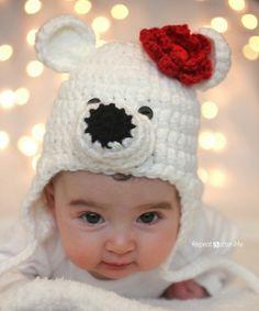 Crochet Polar Bear Hat Pattern - Repeat Crafter Me Crochet Hippo, Crochet Animal Hats, Crochet Diy, Crochet Kids Hats, Crochet Bebe, Crochet Dolls, Sombrero A Crochet, Bandeau, Crochet Projects