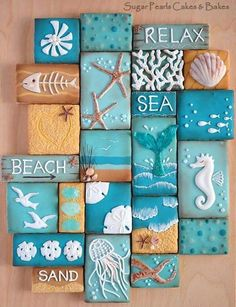 Beach Decor Images Romantic Cottage On The Beach Do you desire to escape to the seaside? These 10 Coastal Cookies will carry you away to beach for a deliciously artistic summer escape! Coastal Cookie Collage via Sugar Pearls Cakes & Bakes. Seashell Crafts, Beach Crafts, Diy Crafts, Beach Themed Crafts, Beach Themed Rooms, Wall Decor Crafts, Seashell Projects, Pearl Cake, Deco Marine