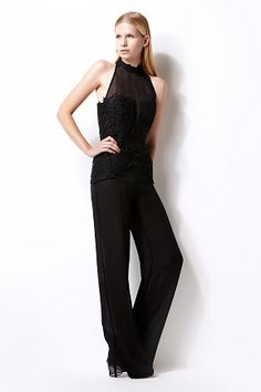 Calantha jumpsuit - lace - sheer front panel - halter-neck - double georgette layers of trousers - silk lining #womenswear