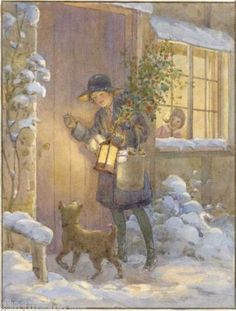 'Christmas Visitor'  by English Illustrator Margaret Tarrant (1888-1959).