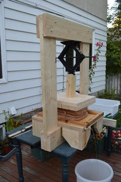 A homemade apple press