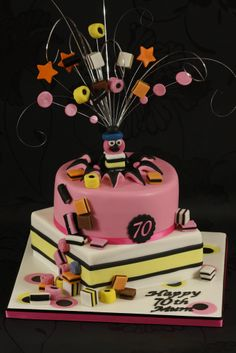 First time I've tried the wired topper. And I ate way too many liquorice allsorts whilst making this! 70th Birthday Cake For Men, Birthday Decorations For Men, Birthday Cakes For Men, Birthday Wishes, Birthday Sayings, Birthday Images, Birthday Greetings, Birthday Gifts, Happy Birthday