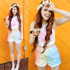 Nasty Gal Flower Crown, Declared Clothing  1969 Crop, Lonely Clothing Co Tie Dye Shorts, Bcbg Sandals