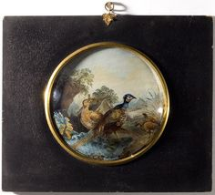 A Georgian miniature of a landscape, painted oil on tin and behind a domed glass further painted with pheasants and foliage giving the deceit of three dimensions. Within the original ebonized papier mache frame with gilt metal suspension loop. Birds 2, Pheasant, Glass Domes, Georgian, Poster Wall, Art Decor, Miniatures, Deceit, Landscape