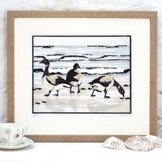 'Brent Geese in the Morning' linocut print by Fiona Carver