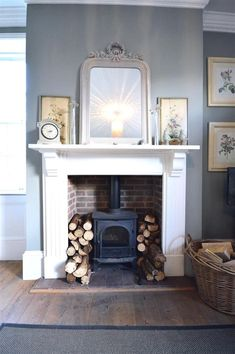 Hottest Free Fireplace Hearth log burner Tips Super Wood Burning Stove Fireplace Fire Surround Log Burner Ideas Log Burner Living Room, Living Room With Fireplace, New Living Room, Living Room Decor, Farrow And Ball Living Room, Living Area, Fireplace Surrounds, Fireplace Design, Fireplace Ideas