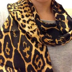 YSL silk scarf Leopard print %100 silk made in Italy Yves Saint Laurent Accessories Scarves & Wraps