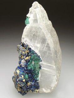 Selenite with Azurite and Malachite