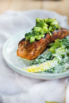 Grilled Salmon Salad with Avocado Cucumber Relish| www.feastingathome.com