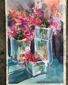 Snapdragons 14x21 #watercolor #watercolor #workshop #flowers #sarahyeomanart #artoftheday #artistsoninstagram #artoninstagram