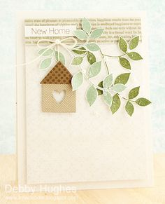 Clearly Besotted Leafy Accents stamps and dies; CB Background Builder stamp set; Papertrey Ink Love Loves Here dies.  New Home