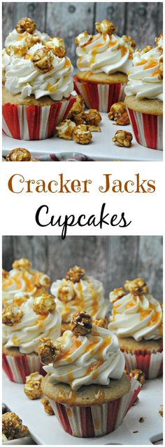 recipes dessert, easy healthy dessert recipes, thanksgiving recipes desserts - Today we are sharing fun Cracker Jacks Cupcakes. Who doesn't love Cracker Jacks? And combined in a cupcake! It's easy & will be the hit of the party. Cupcake Flavors, Cupcake Recipes, Dessert Recipes, Easter Recipes, Thanksgiving Recipes, Köstliche Desserts, Delicious Desserts, Health Desserts, Yummy Treats
