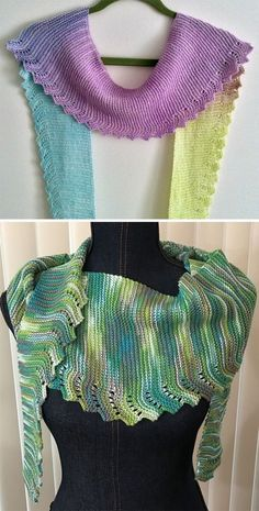 Free Knitting Pattern for Easy Workday Scarf - Easy scarf that consists of an 8 row repeat (7 of garter stitch and one of the lace). You do the 8 row increase repeat until the scarf is as half the length you want and then do the 8 row repeat decrease. Great for showcasing variegated, gradient, or cake yarn. Designed by Sue Flanders. Finished measurements; Length=60″, Width=1-1/2 to 8″. Pictured projects by cbass who used a gradient yarn and slwalsh by Makia55