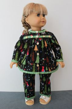 """""""Little Red Riding Hood"""" cotton print Holiday Pajamas with a black background, edged with a green damask cotton print & embellished with vintage mother of pearl buttons, by ForAllTimeDesigns on Etsy   $30.00"""