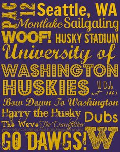 This gift-wrapped sign is the perfect gift for your favorite Husky...And your purchase feeds an orphan for a MONTH!! Go Dawgs!! University of Washington Subway Art on an by EstSignsFeedsOrphans, $30.00