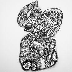 Whimsical Baby Zentangle Elepant