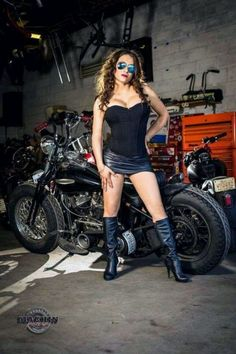 Babes on Motorcycles By Razin Cane Motorbike Girl, Bobber Motorcycle, Motorcycles, Motorcycle Girls, Lady Biker, Biker Girl, Hot Bikes, Biker Chick, 1 Girl