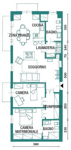 pianta appartamento stile industrial