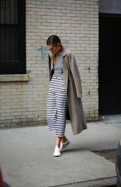 Danielle Bernstein smart styling the stripes with J BRAND's Caldwell Trouser