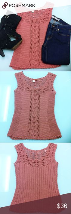 Anthropologie Mauve Crocheted Sleeveless Top Mauve colored crocheted sleeveless top by Tape Measure for Anthropologie. Size small. Does not require dry cleaning, but is recommended to be washed on gentle cycle. 100% mercerized cotton. Anthropologie Tops Tank Tops