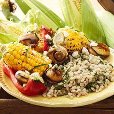 Grilled Vegetables Over Barley with Feta and Basil - Fitnessmagazine.com