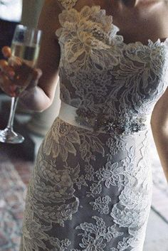Great Lace one shoulder dress with belt So pretty for a rehearsal dinner dress