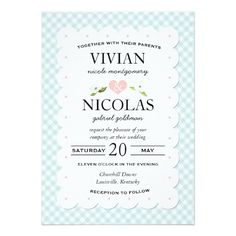 Country Floral Gingham Pink Blue Wedding Card