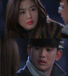 """Min Joon: """"Chun Song Yi, las cosas que quieres hacer...vamos a hacerlas por adelantado"""". Song Yi: """"¿Por adelantado?"""". Min Joon: """"Si, por adelantado. Vamos a hacerlas todas en un mes"""". Song Yi: """"¿Por qué? ¿Por qué en un mes?"""". Min Joon: """"Yo...me voy a ir"""". Song Yi: """"¿De qué estás hablando? ¿Ir a dónde?"""". Min Joon: """"Regreso a mi lugar de origen. En un mes...regreso...a mi lugar de origen"""" - My Love From Another Star, Episodio 16"""