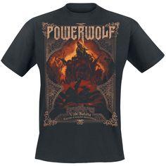 """Classica T-Shirt uomo nera """"Vade Satana - Metal Is Religion"""" dei #Powerwolf con ampia stampa su fronte e retro."""