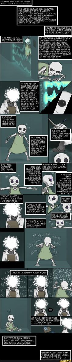 Undertale, Sans, Papyrus, Gaster. This is definitely Zarla's work, but I don't know the name. Baby bones Sans vs. the flight or  fight instinct