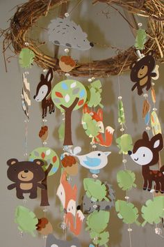Woodland Critter Forest Animal Baby Mobile.