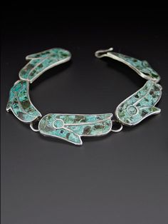 cf599d1ea8db5 1940 s Mexican Crushed Turquoise Fine 950 Sterling Silver Vintage Inlay  Bracelet Bohemian Jewelry